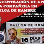 TRAS 14 DIAS   DE HUELGA DE HAMBRE, EMPIEZA A PELIGRAR LA SALUD DE NUESTRA COMPAÑERA, MIENTRAS AZCÓN SIGUE IMPASIBLE